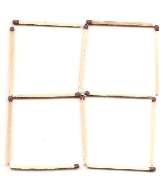 Как из четырех спичек сделать квадрат переставив одну спичку