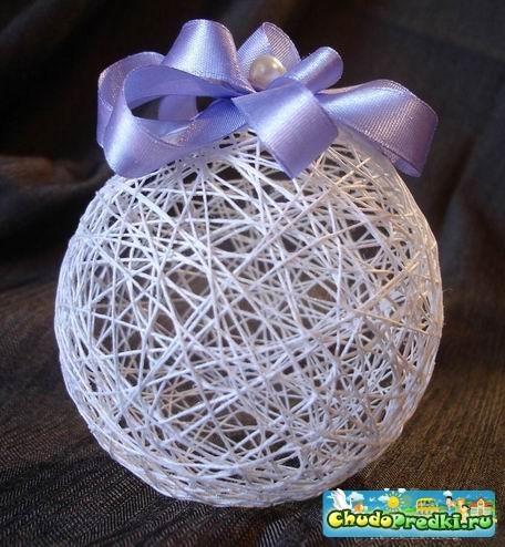 Объемные шары из ниток  фото