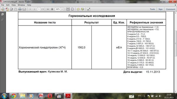 Ответы@Mail.Ru: Девочки ХГЧ 1562 мЕ/л какая это неделя? Подскажите пожалуйста