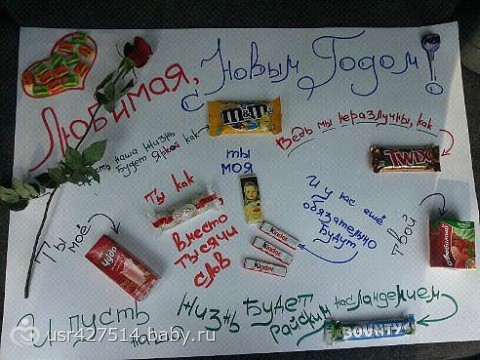Плакат из шоколадок подруге