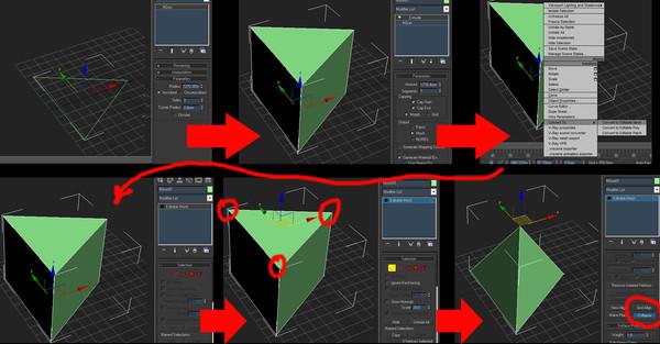Ответы@Mail.Ru: Подскажите, пожалуйста, как построить треугольную пирамиду (тетраидер) в 3d max, там в формах только четырехугол