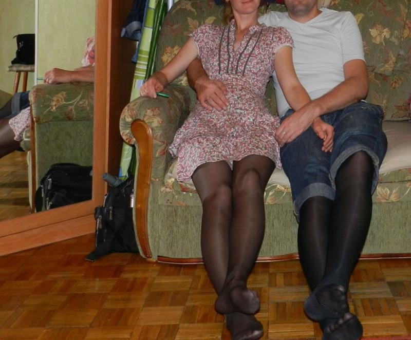 Magnificent husbands wearing pantyhose are