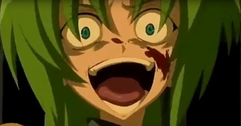Anime insane smile gif