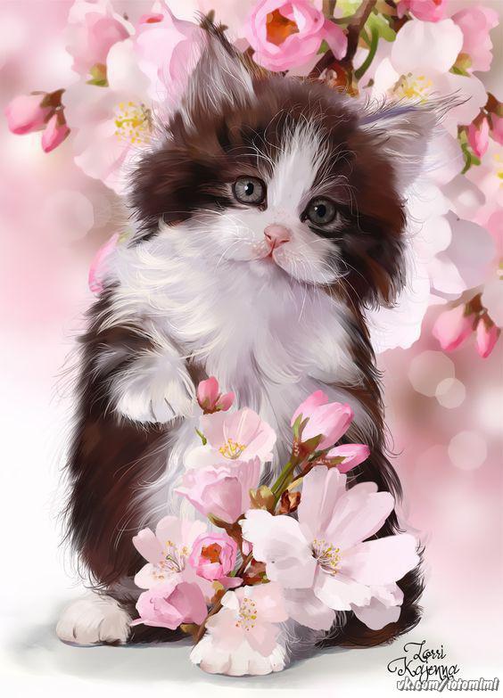 Кошка с цветами открытка с днем рождения 8