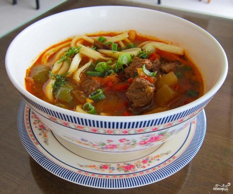 Видео как приготовить суп лагман в домашних условиях