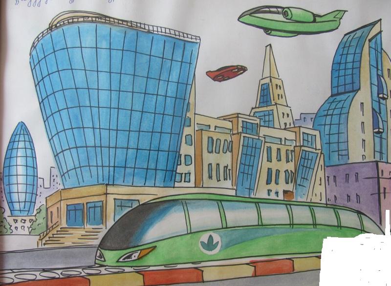 Как поэтапно нарисовать город в будущем