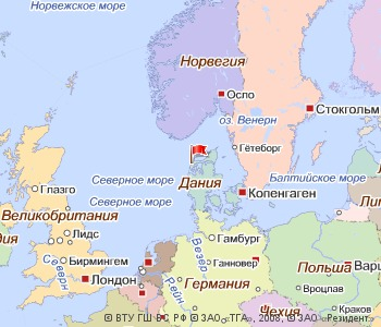 На карте где находится дания