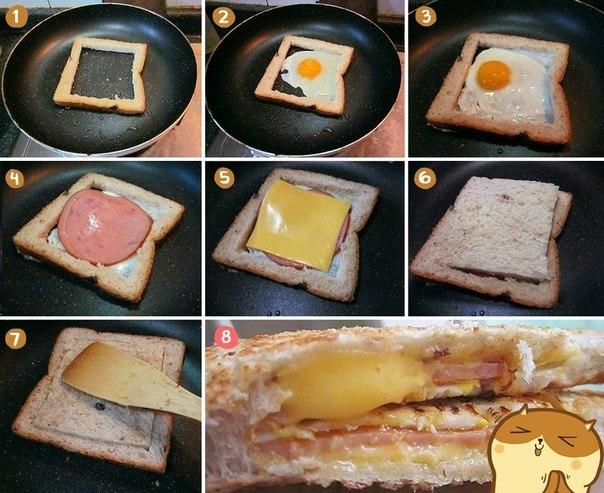 Как сделать бутерброды на сковороде с сыром