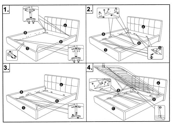 Чертеж кровати своими руками с подъемным механизмом