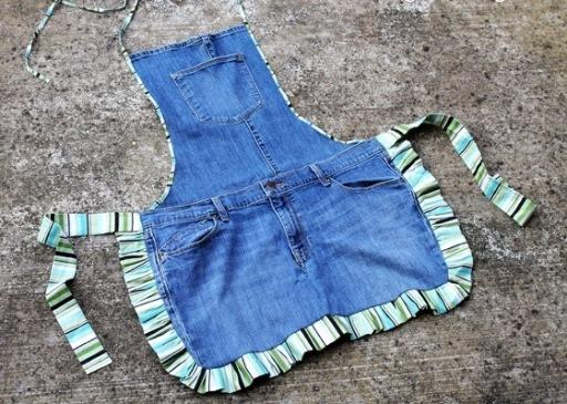 Как сшить фартук из джинс