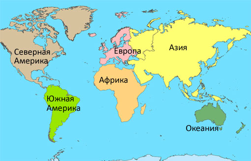 Какие есть континенты и где они находятся