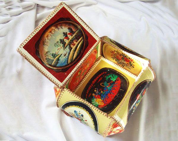 Новогодняя шкатулка из открыток своими руками