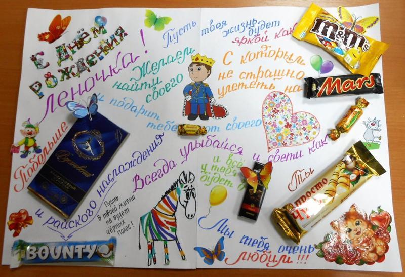 Плакат поздравление с конфетами
