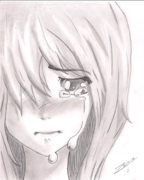 Девочка плачет рисунок карандашом
