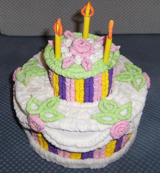 Как сделать торт из гофрированной бумаги мастер класс
