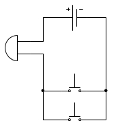 Придумайте схему соединения гальванического элемента и двух кнопок