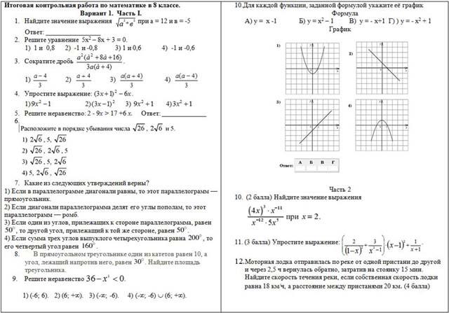 Итоговый тест за курс 8 класса по математике с ответами