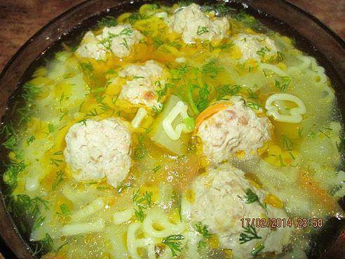 Суп с фрикадельками с рисом и вермишелью пошаговый рецепт с