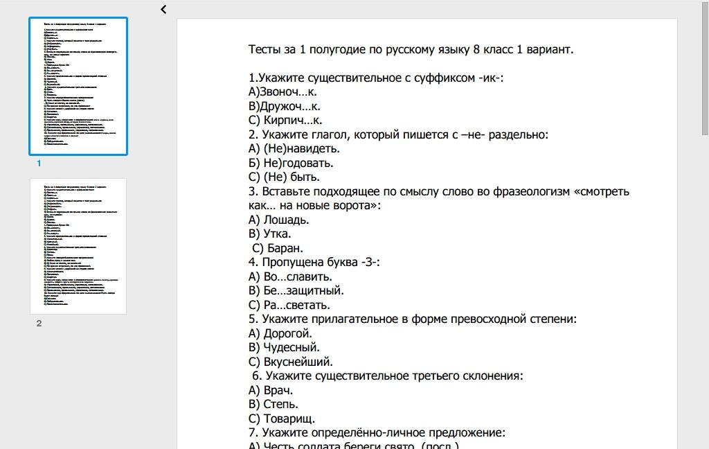 Контрольный тест по русскому языку 10 класс за 1 полугодие