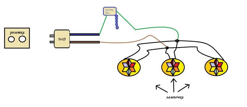 Схема подключения бра с цепочкой
