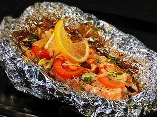 Красная рыба с овощами в фольге в духовке рецепт пошагово