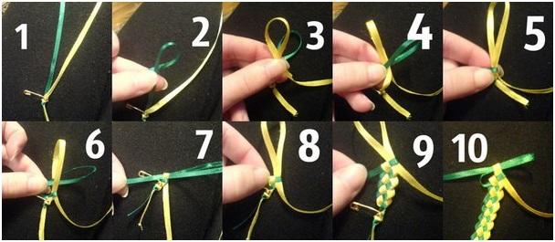 Схемы плетения браслетов из ленточек