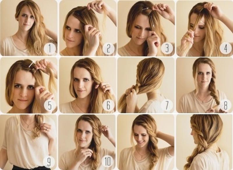 Смотреть причёски на короткий волос плетение