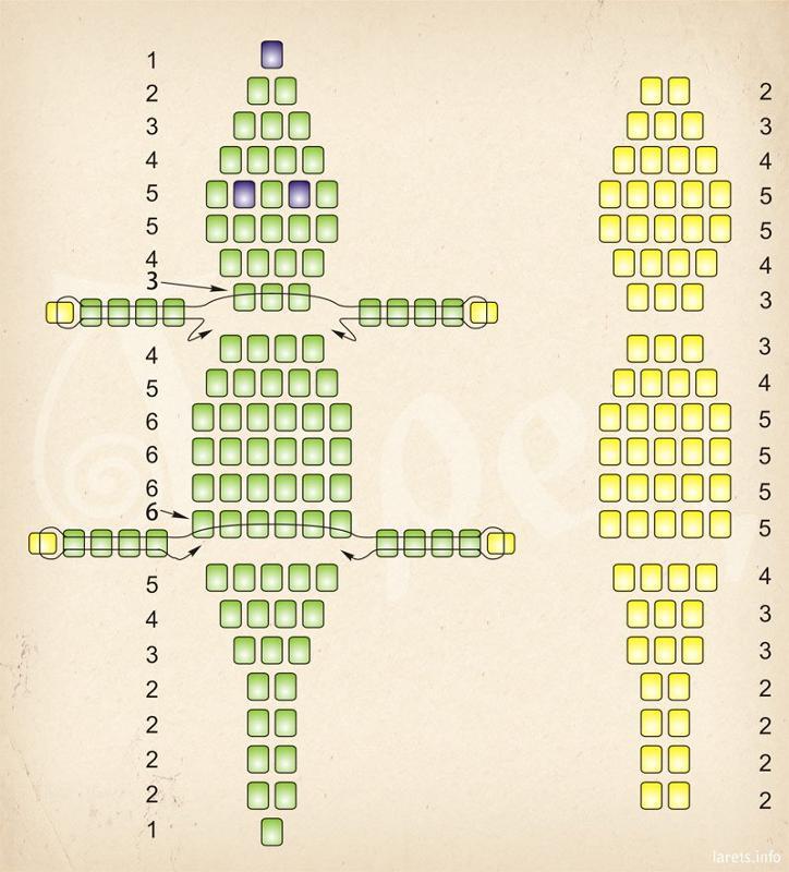 Схема плетение бисером-крокодильчик