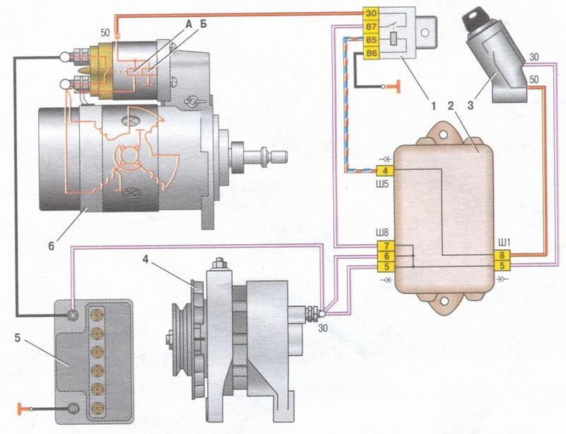 Схема подключения стартер ваз 21099 инжектор
