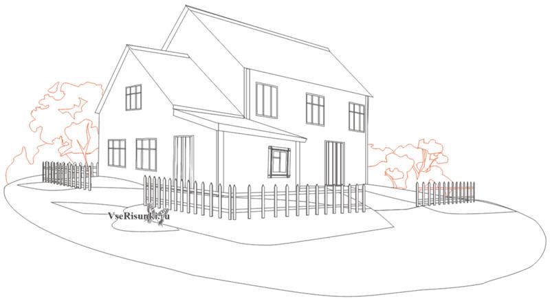 Нарисовать большой дом карандашом поэтапно