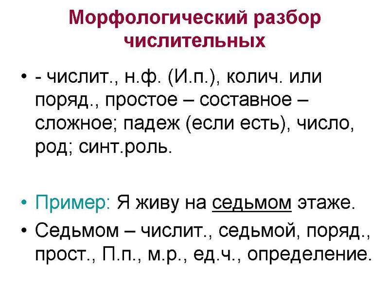 Образец морфологический разбор числительного