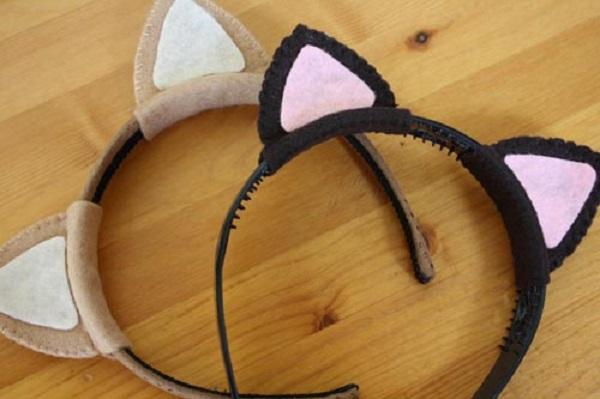 Как сделать кошачьи ушки своими руками из картона на ободке