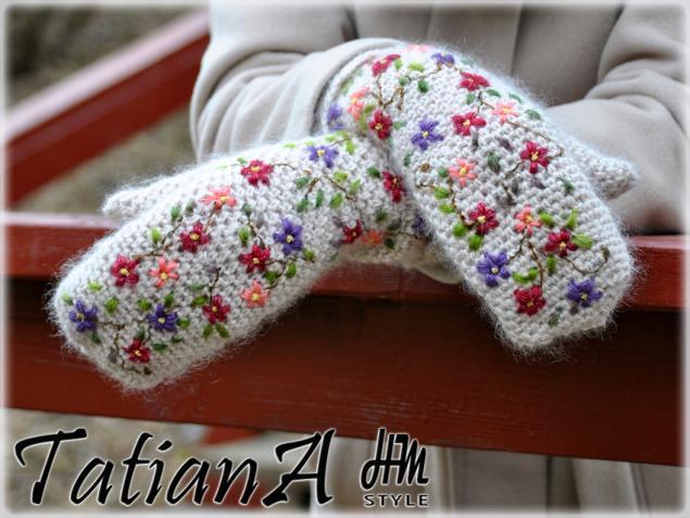 Вязание варежки спицами с вышивкой