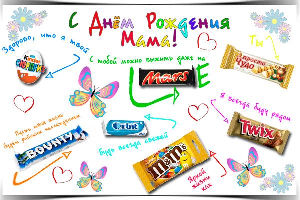 Плакат из конфет маме на день рождения своими руками 1171