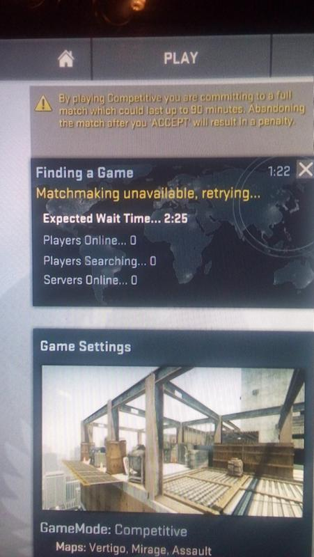 Matchmaking unavailable try again csgo