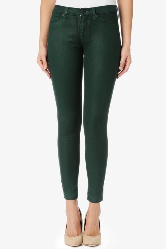Темно зеленые джинсы женские