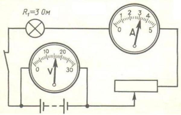 цепь с реостатом амперметром вольтметром резистором