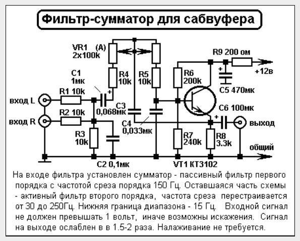 Схема на сабвуфер