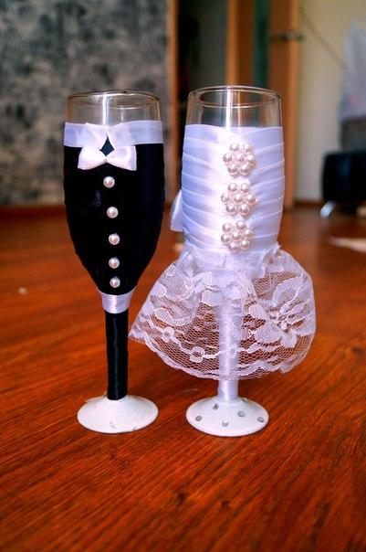 Фужеры жених и невеста своими руками фото 36