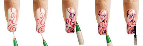 Рисунки кисточками на ногтях пошагово