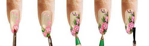 Как нарисовать цветы для маникюра