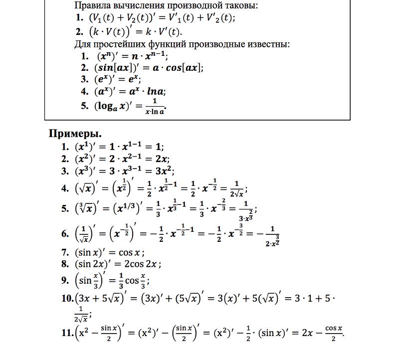 Решебник По Алгебре 10 Класс Самостоятельные Работы Вычисление Производных