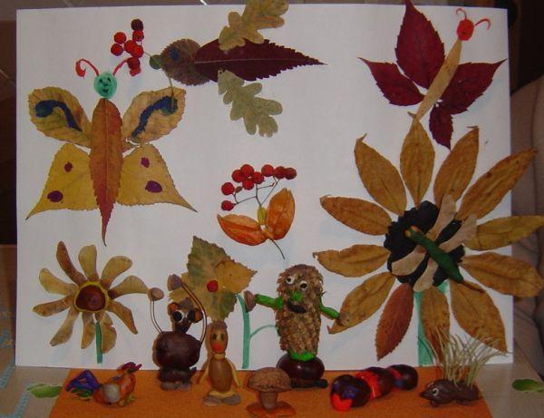 Поделки из листьев своими руками фото осень в садик