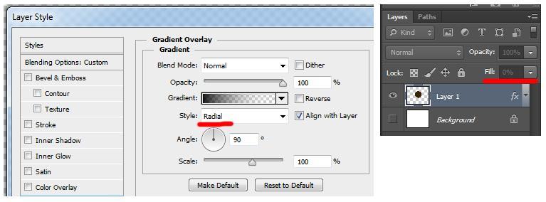 Как в фотошопе сделать радиальный градиент