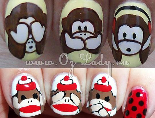 Дизайн ногтей с обезьянками фото