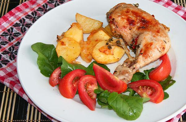 Рецепт куриные окорочка с овощами