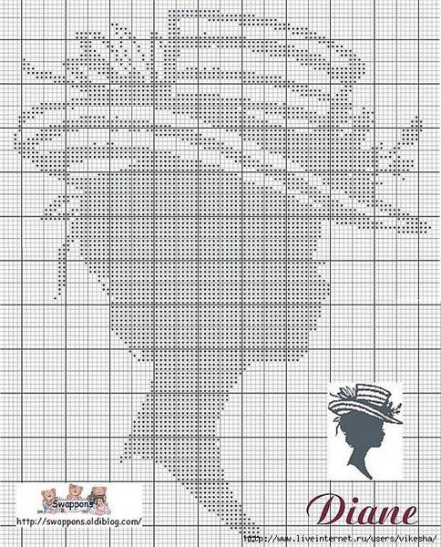 Вышивки схемы дама в шляпе монохром 35