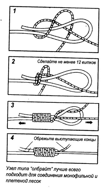 как связать между собой леску и плетенку видео