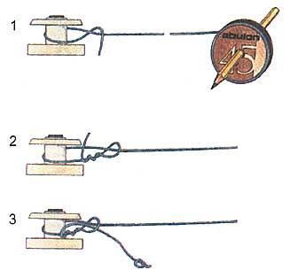 как крепиться леска на катушке удочки