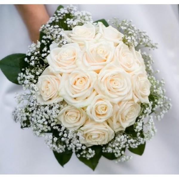 Букет из белых роз на свадьбу в подарок 25